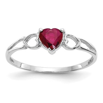 14k White Gold Ruby Birthstone Ring