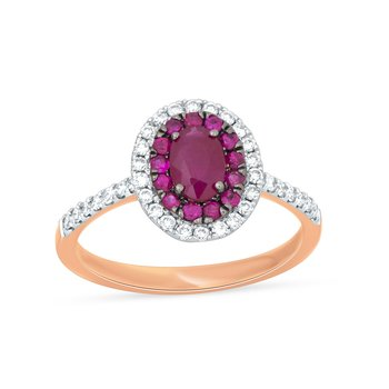 14K 0.28 Ct Diamond & Ruby Ring