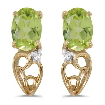 10k Yellow Gold Oval Peridot And Diamond Earrings