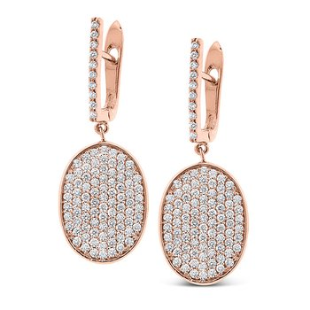 Diamond Oval Drop Earrings in 14k Rose Gold with 188 Diamonds weighing 1.50ct tw.