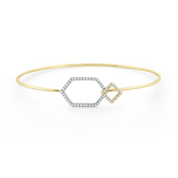 Diamond Wire Bangle with Geometric Clasp Set in 14 Kt. Gold