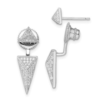 Sterling Silver Rhodium-plated CZ Convertible Back Earrings