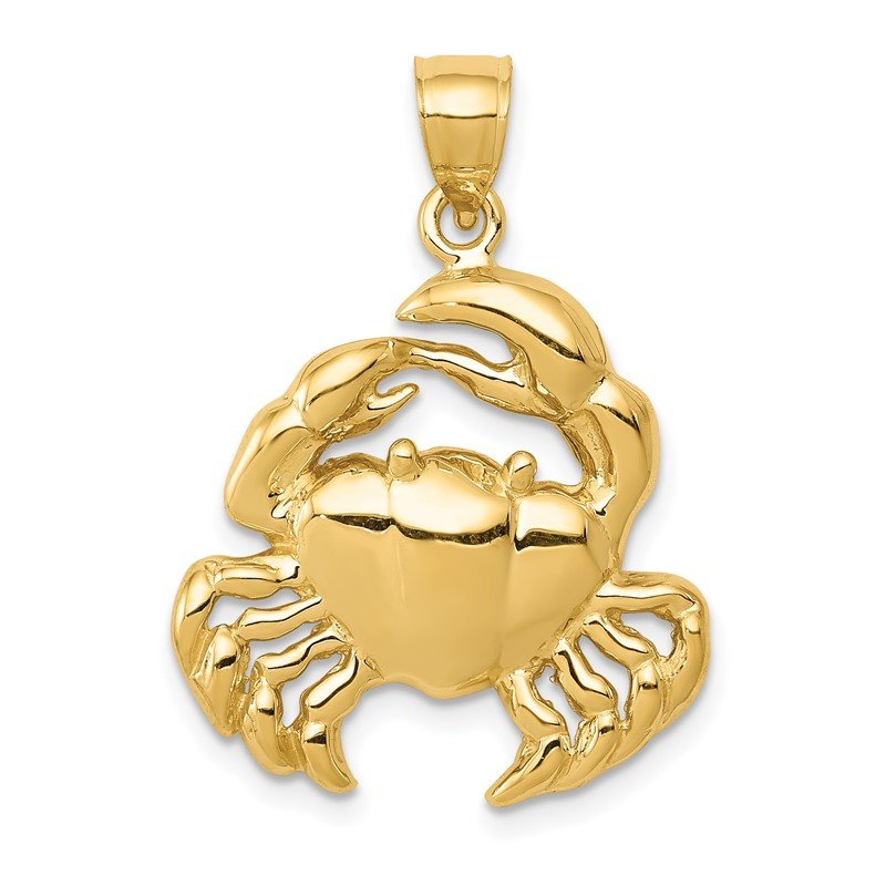 Quality Gold 14k Polished Crab Pendant