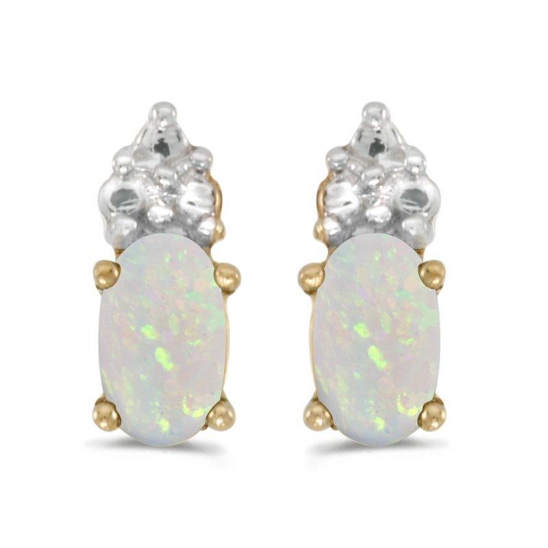 Color Merchants 14k Yellow Gold Oval Opal Earrings
