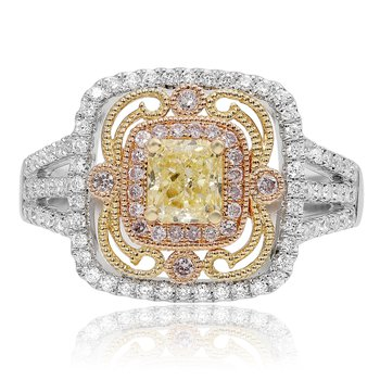 Intricate Tri-Colored Diamond Ring