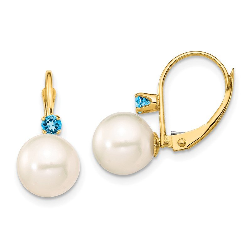 Quality Gold 14K 8-8.5mm White Round FWC Pearl Blue Topaz Leverback Earrings