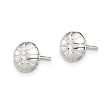 Sterling Silver Basketball Mini Earrings