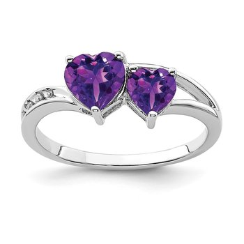 Sterling Silver Rhodium Plated Diamond and Amethyst Heart Ring
