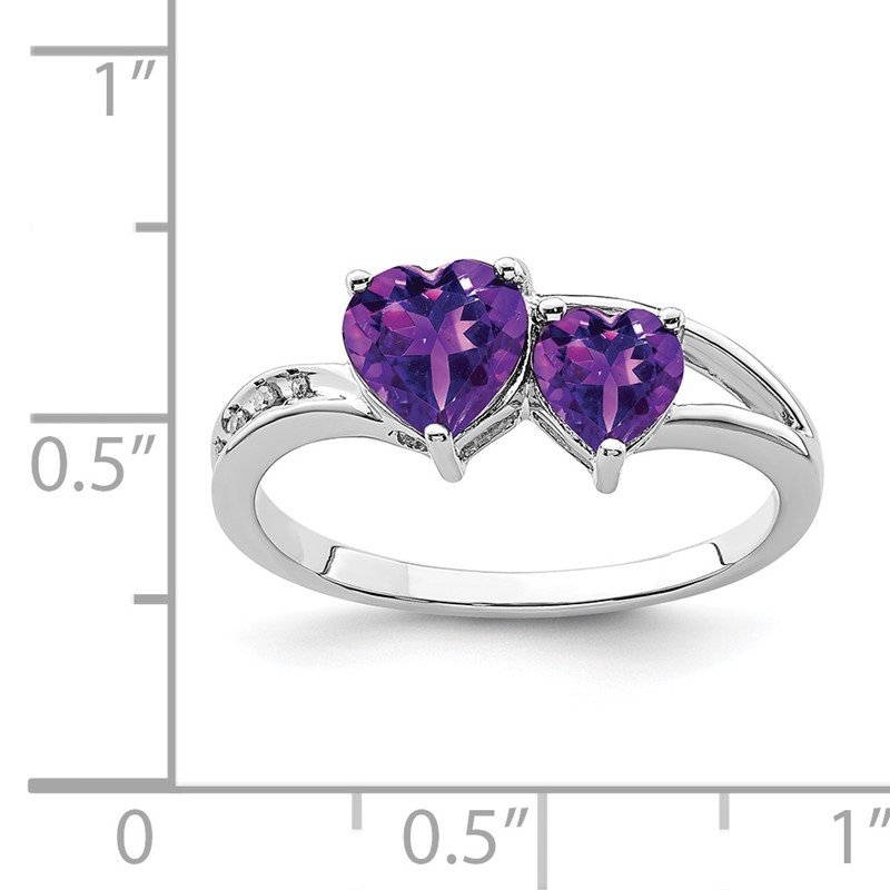 Quality Gold Sterling Silver Rhodium Plated Diamond and Amethyst Heart Ring