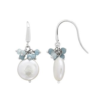 Honora Sterling Silver 13-14mm White Coin Freshwater Cultured Peal with Aquamarine Cluster Earrings