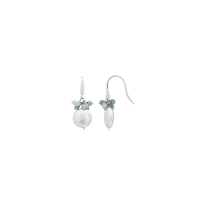 Honora Honora Sterling Silver 13-14mm White Coin Freshwater Cultured Peal with Aquamarine Cluster Earrings
