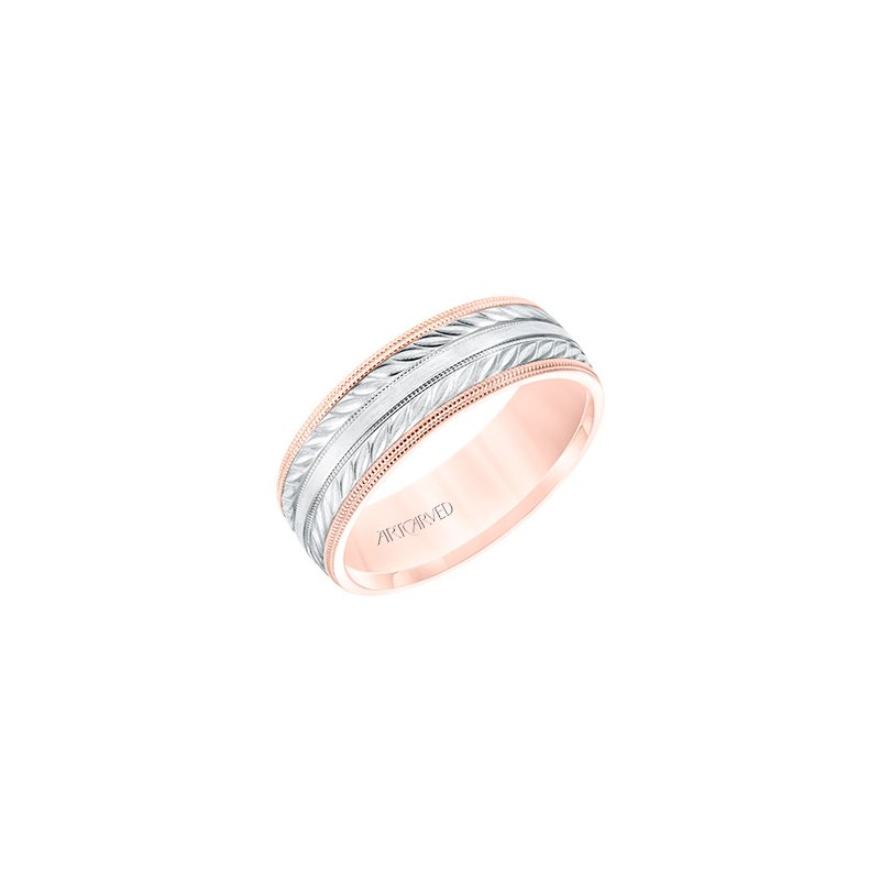 ArtCarved 14K Two-Tone Rose Gold Comfort Fit Wedding Band