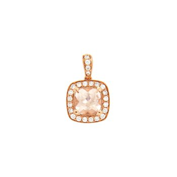 14k Rose Gold Pendant with Morganite & Diamond