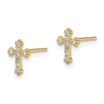 14k Madi K CZ Cross Post Earrings