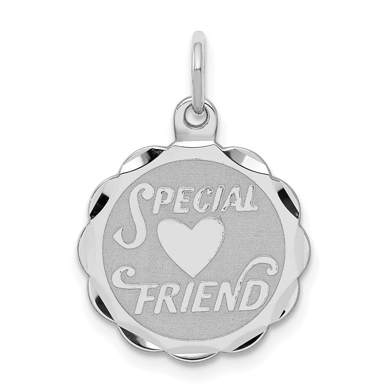 Quality Gold Sterling Silver Rhodium-plated Special Friend Disc Charm