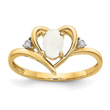 14k Opal and Diamond Heart Ring