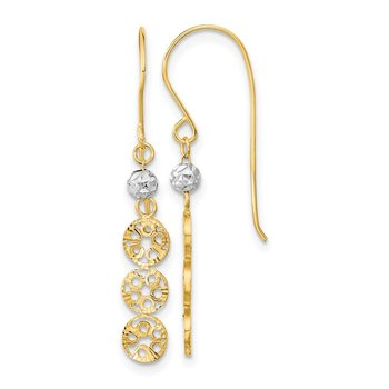 14k Two-tone Polished Diamond-cut Circles Shepherd Hook Earrings