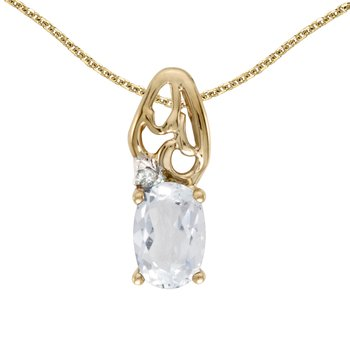 10k Yellow Gold Oval White Topaz And Diamond Pendant