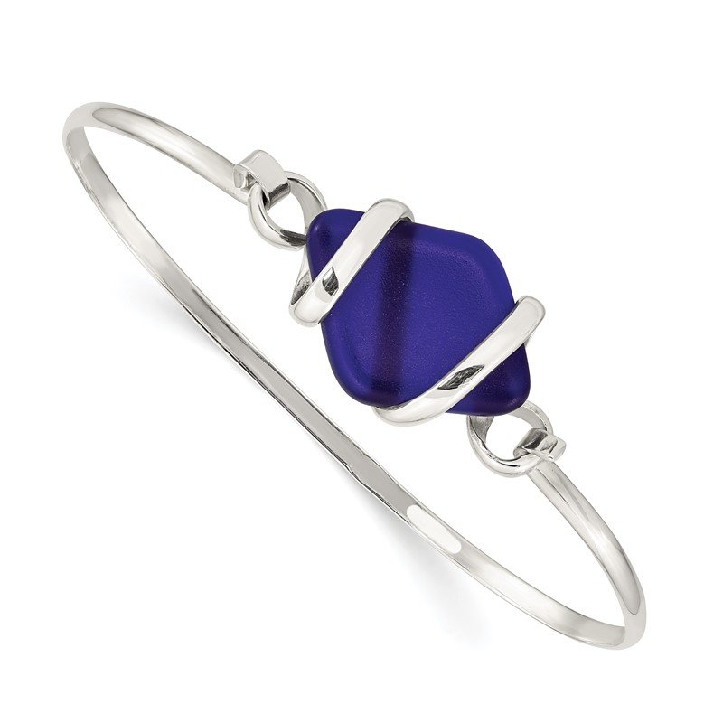 JC Sipe Essentials Sterling Silver Blue Sea Glass Bangle