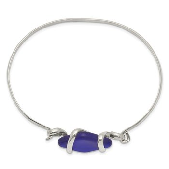 Sterling Silver Blue Sea Glass Bangle
