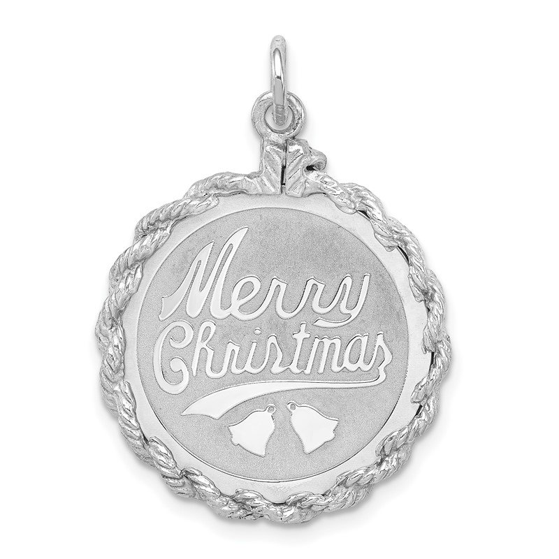 Quality Gold Sterling Silver Rhodium-plated Merry Christmas Disc Charm