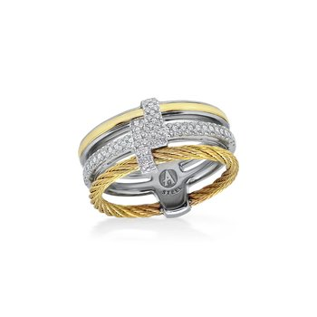 Yellow Cable Opulence Ring with 18kt White & Yellow Gold & Diamonds