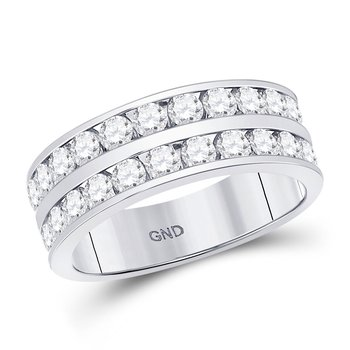 14kt White Gold Mens Round Diamond Double Row Wedding Band Ring 2.00 Cttw