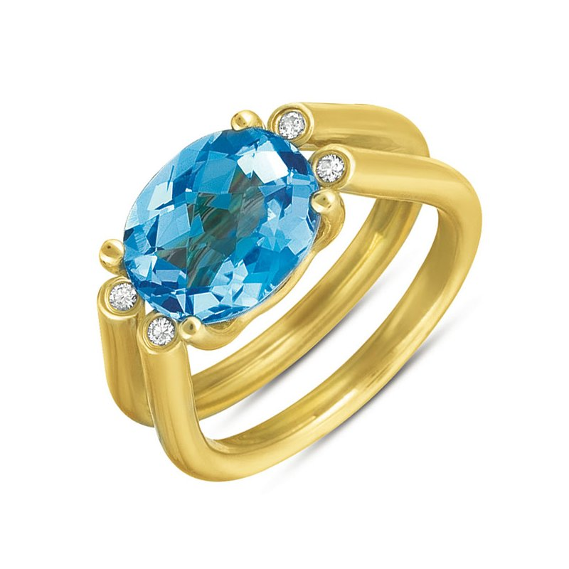 S. Kashi  & Sons Blue Topaz. & Diamond Ring