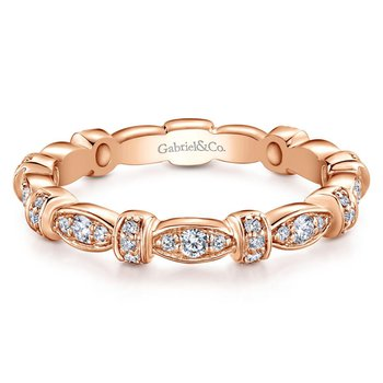 14k Pink Gold Diamond Alternating Pave Ladies Ring