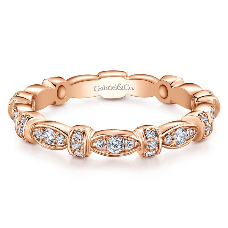 Gabriel Fashion 14K Rose Gold Contoured Stackable Diamond Ladies Ring