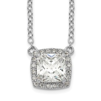 Sterling Silver Rhodium-plated Square CZ Halo w/1in ext Necklace