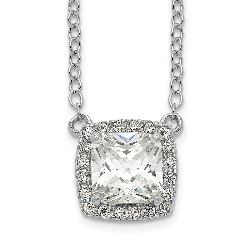 Quality Gold Sterling Silver Rhodium-plated Square CZ Halo w/1in ext Necklace
