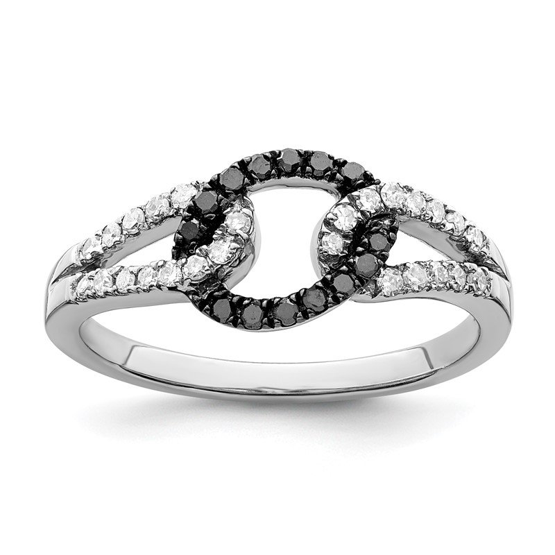 Quality Gold Sterling Silver Rhod Plated Black & White Diamond Ring