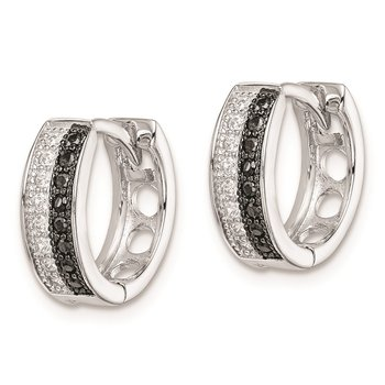 Sterling Silver RH-plated White and Black CZ Hinged Hoop Earrings