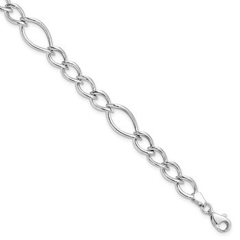 Leslie's 10k White Gold Polished Link Bracelet