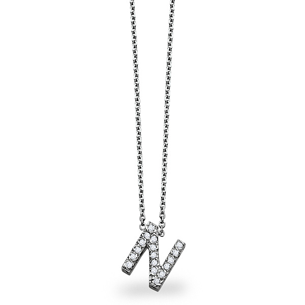 14K White-Block Initial Necklace