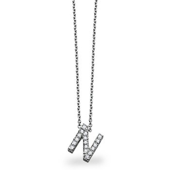 "Diamond Block Initial ""N"" Necklace in 14k White Gold with 17 Diamonds weighing .14ct tw."