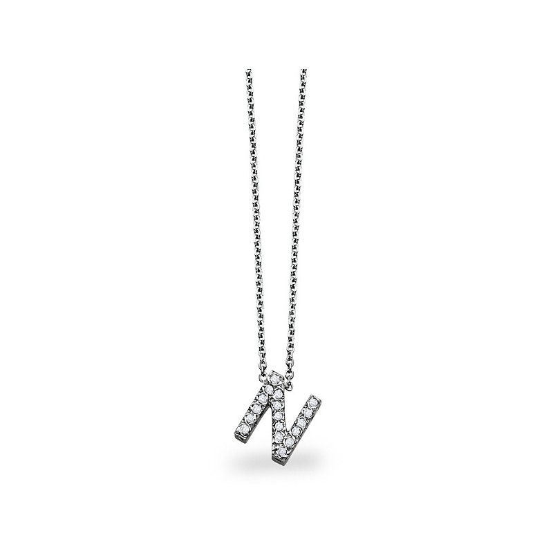 "KC Designs Diamond Block Initial ""N"" Necklace in 14k White Gold with 17 Diamonds weighing .14ct tw."