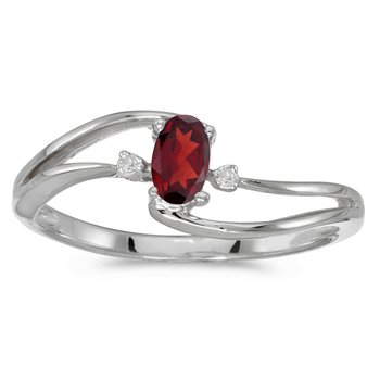 10k White Gold Oval Garnet And Diamond Wave Ring