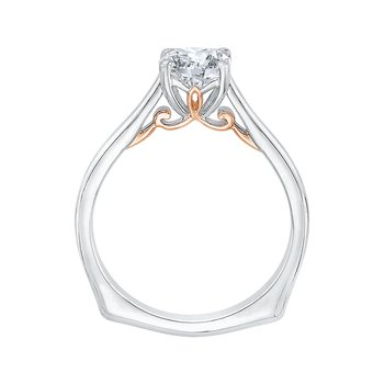 14K Two-Tone Gold Cushion Cut Diamond Solitaire Engagement Ring (Semi-Mount)
