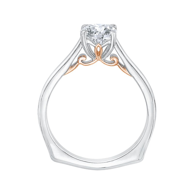 Carizza 14K Two-Tone Gold Cushion Cut Diamond Solitaire Engagement Ring (Semi-Mount)