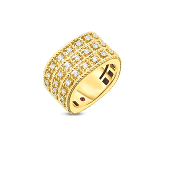 #27667 Of 18Kt Gold 3 Row Ring With Diamonds