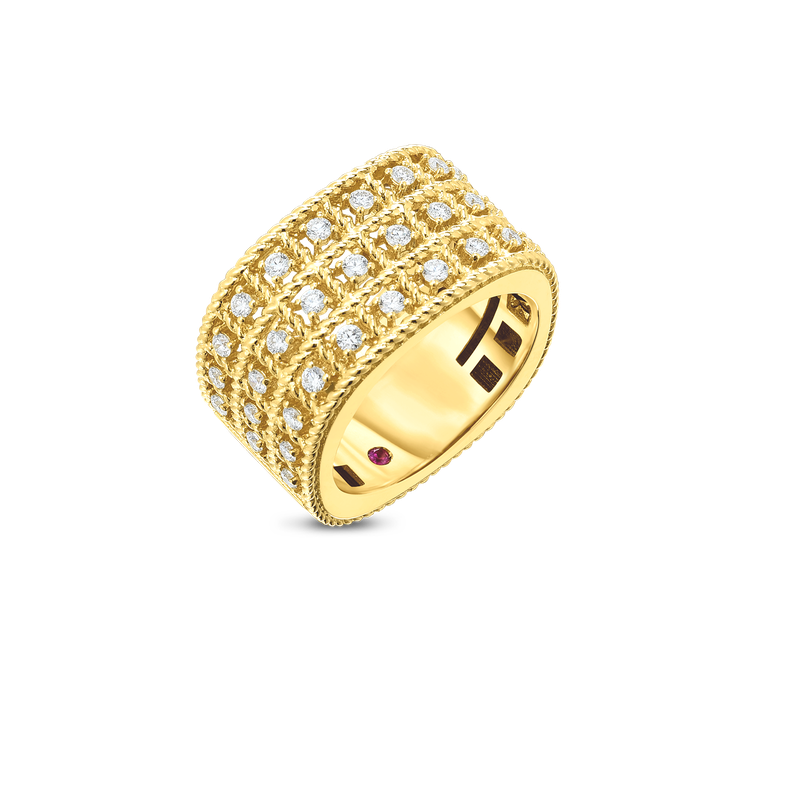 Roberto Coin  #27667 Of 18Kt Gold 3 Row Ring With Diamonds