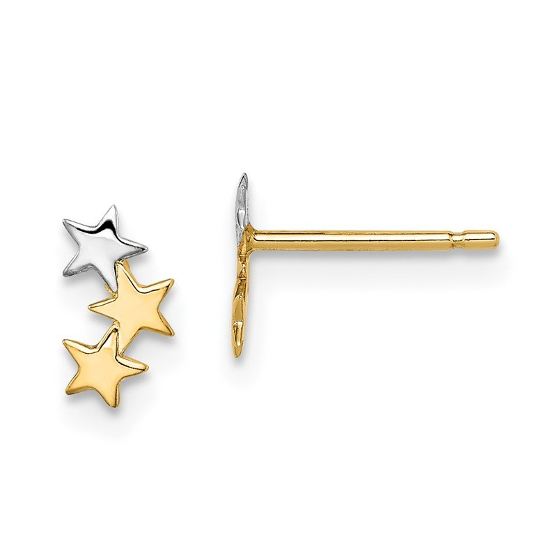 Quality Gold 14k Madi K & White Rhodium 3-Star Post Earrings