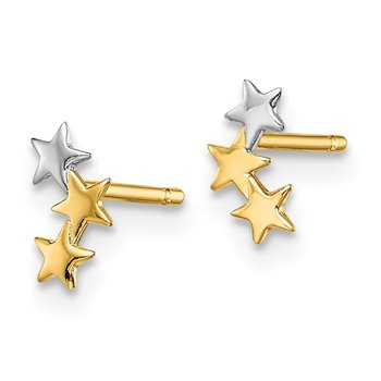 14k Madi K & White Rhodium 3-Star Post Earrings