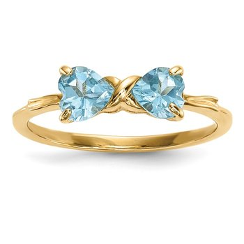 14k Gold Polished Light Swiss Blue Topaz Bow Ring