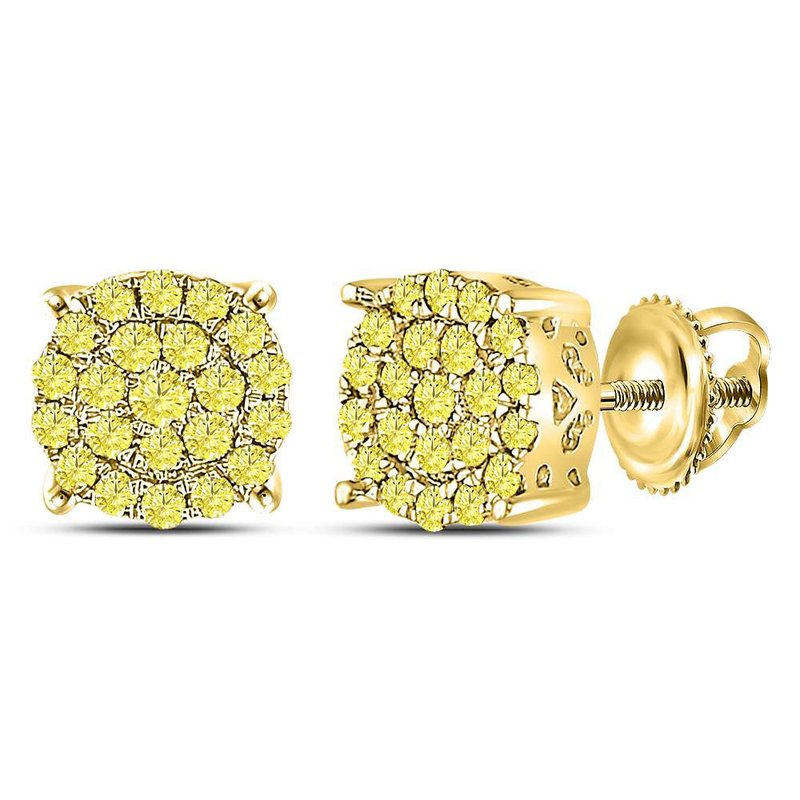 Kingdom Treasures 10kt Yellow Gold Womens Round Canary Diamond Concentric Cluster Stud Earrings 1/2 Cttw