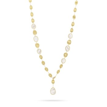 Lunaria White Mother of Pearl with Diamond Pave Clasp Lariat