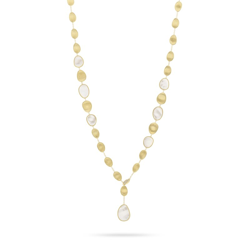 Marco Bicego Lunaria White Mother of Pearl with Diamond Pave Clasp Lariat