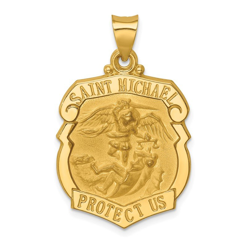 Quality Gold 14k Polished and Satin St. Michael Badge Medal Hollow Pendant